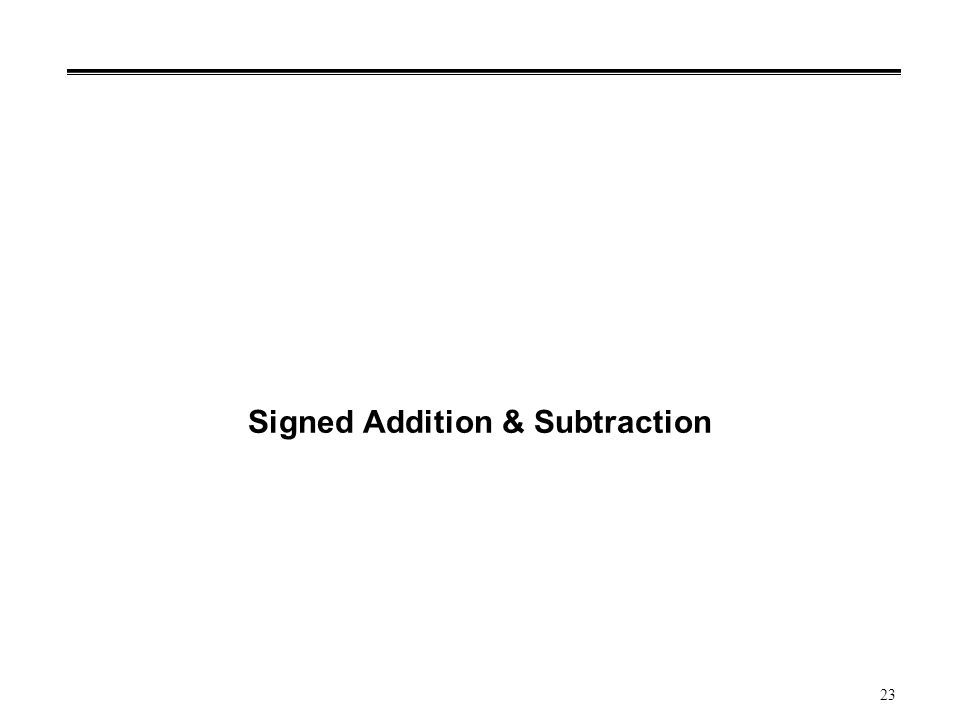 23 Signed Addition & Subtraction
