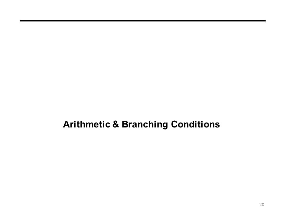 28 Arithmetic & Branching Conditions