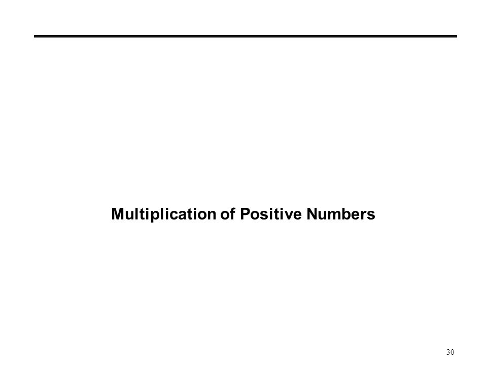 30 Multiplication of Positive Numbers