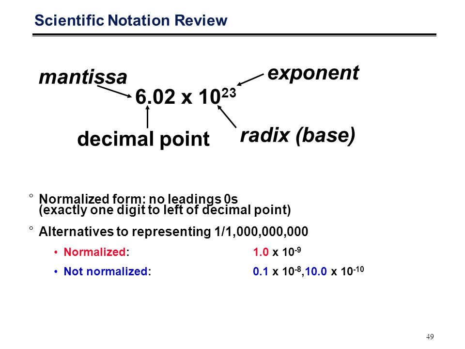 49 Scientific Notation Review 6.02 x 10 23 radix (base) decimal pointmantissa exponent °Normalized form: no leadings 0s (exactly one digit to left of decimal point) °Alternatives to representing 1/1,000,000,000 Normalized: 1.0 x 10 -9 Not normalized: 0.1 x 10 -8,10.0 x 10 -10
