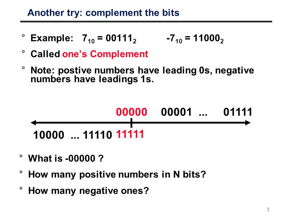 5 Another try: complement the bits °Example: 7 10 = 00111 2 -7 10 = 11000 2 °Called one's Complement °Note: postive numbers have leading 0s, negative numbers have leadings 1s.
