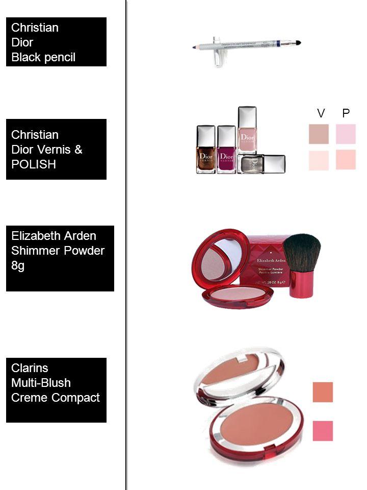 Christian Dior Black pencil Christian Dior Vernis & POLISH Elizabeth Arden Shimmer Powder 8g Clarins Multi-Blush Creme Compact V P