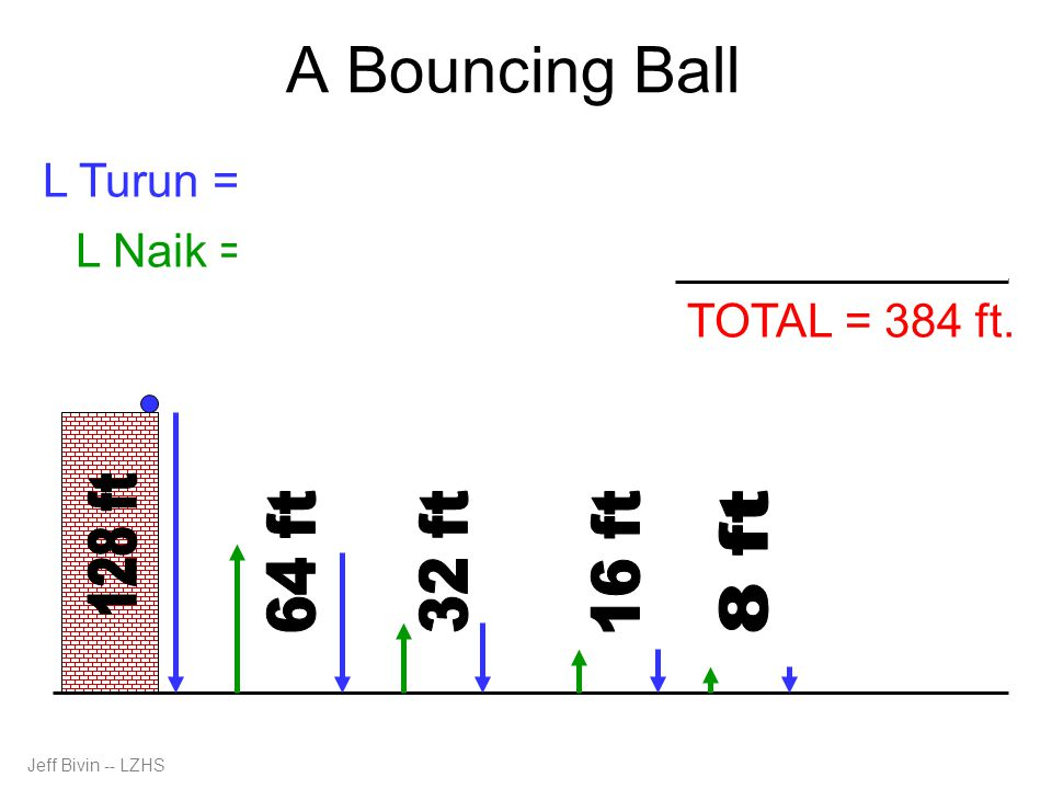 A Bouncing Ball L Naik = 64 + 32 + 16 + 8 + … = 128 L Turun = 128 + 64 + 32 + 16 + 8 + … = 256 TOTAL = 384 ft.