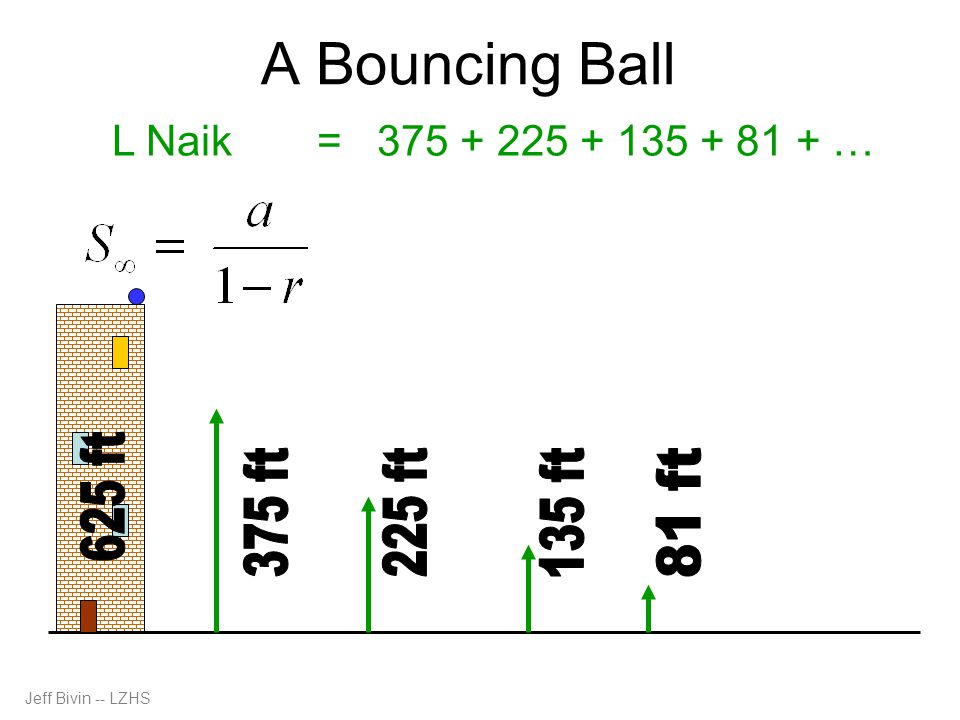 A Bouncing Ball L Naik= 375 + 225 + 135 + 81 + … Jeff Bivin -- LZHS