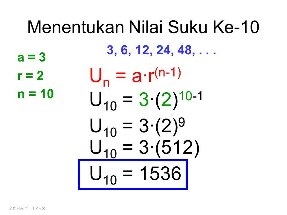Menentukan Nilai Suku Ke-10 3, 6, 12, 24, 48,...