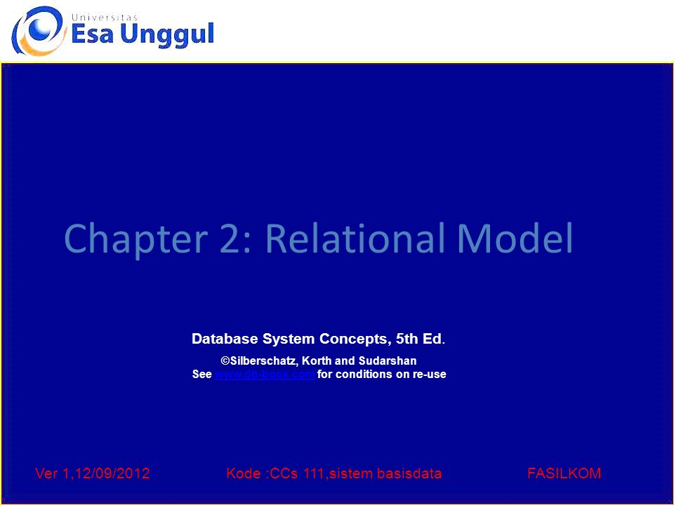 Ver 1,12/09/2012Kode :CCs 111,sistem basisdataFASILKOM Chapter 2: Relational Model Database System Concepts, 5th Ed.