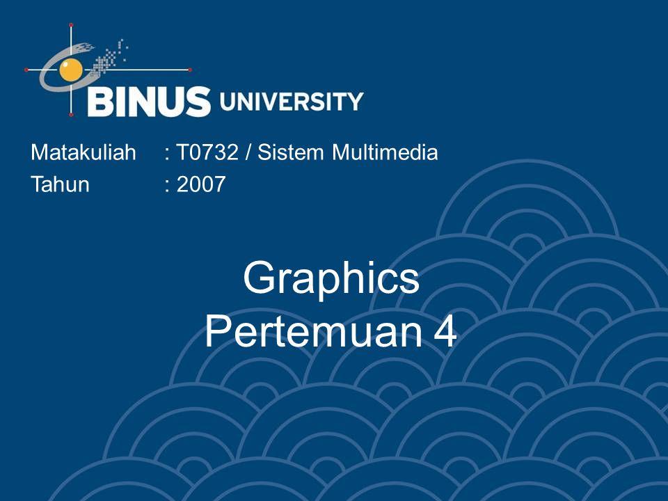Graphics Pertemuan 4 Matakuliah: T0732 / Sistem Multimedia Tahun: 2007