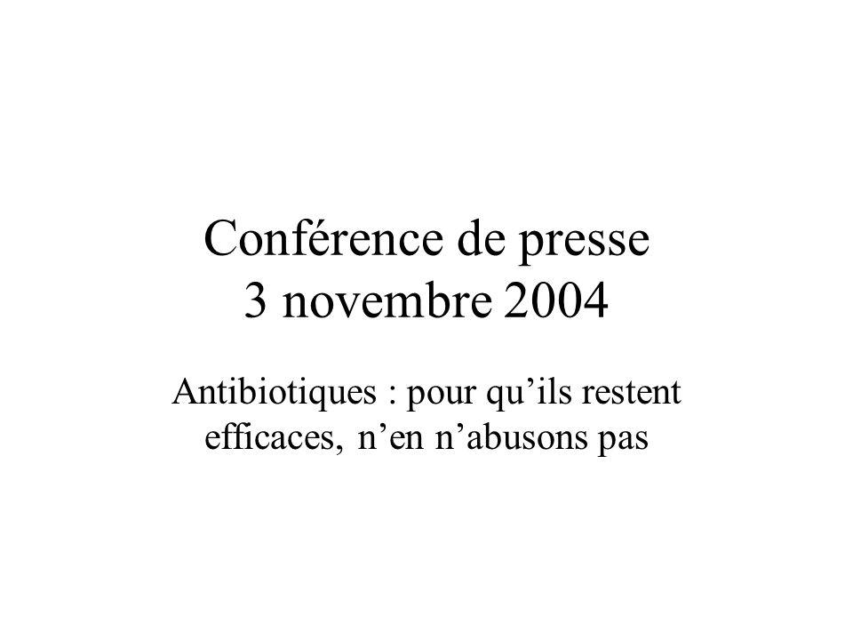 Conférence de presse 3 novembre 2004 Antibiotiques : pour qu'ils restent efficaces, n'en n'abusons pas