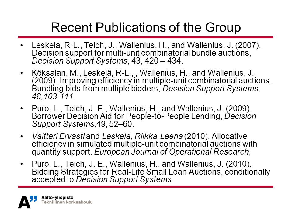 Recent Publications of the Group Leskelä, R-L., Teich, J., Wallenius, H., and Wallenius, J.