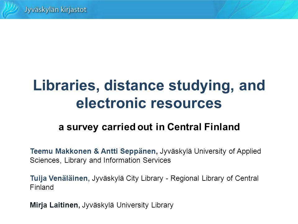Creating Knowledge V, 22 August 2008 Mirja Laitinen, Jyväskylä University Library, Finland 12 NELLI national information retrieval portal for the FinELib libraries remote use –public libraries: only a few