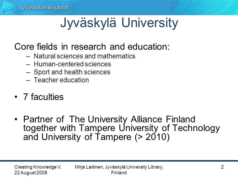 Creating Knowledge V, 22 August 2008 Mirja Laitinen, Jyväskylä University Library, Finland 13 Remote use situations: 1.