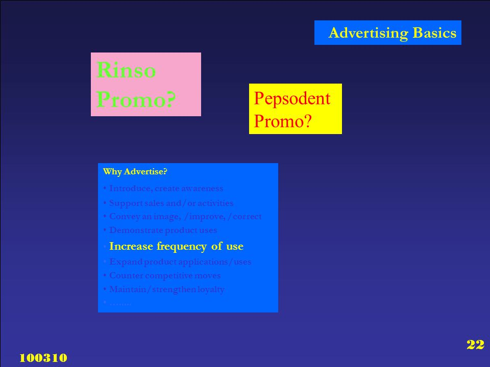 100310 22 Advertising Basics Rinso Promo? Why Advertise? Introduce, create awareness Support sales and/or activities Convey an image, /improve, /corre