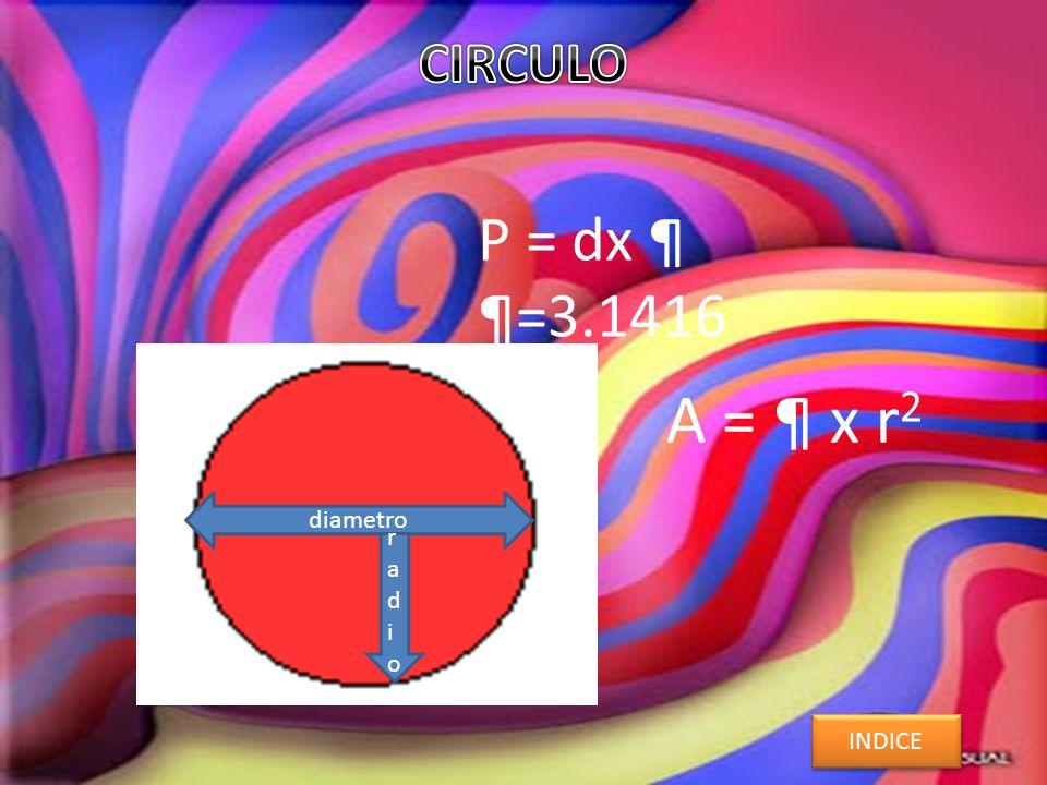 P = dx ¶ ¶=3.1416 A = ¶ x r 2 INDICE diametro radioradio ¶¶