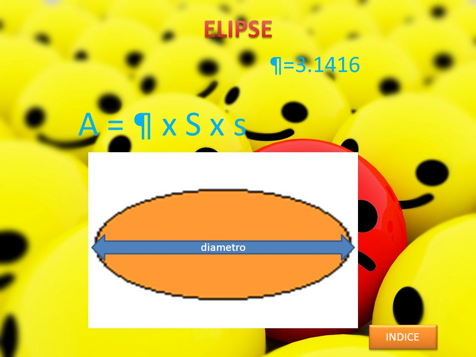 A = ¶ x S x s INDICE diametro ¶=3.1416