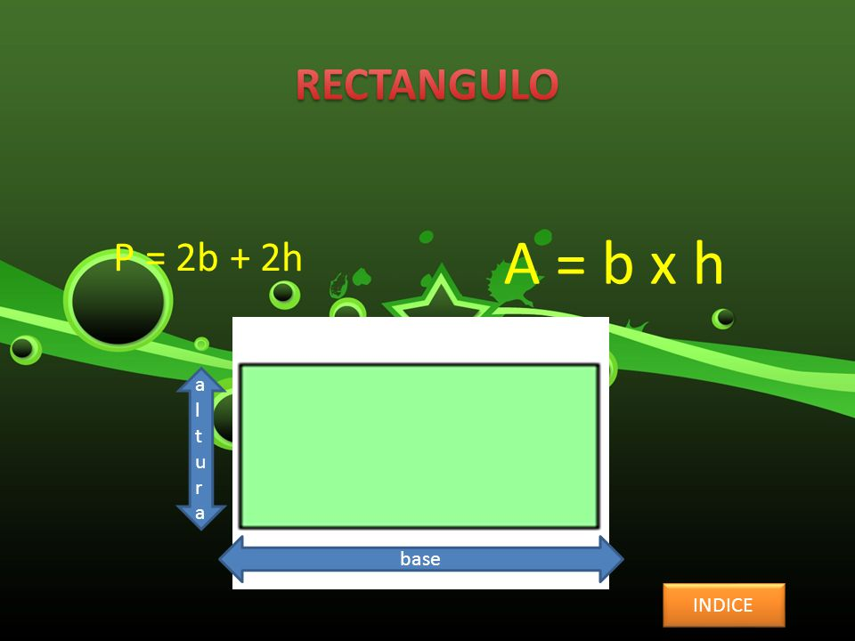 P = 2b + 2h A = b x h INDICE base alturaaltura