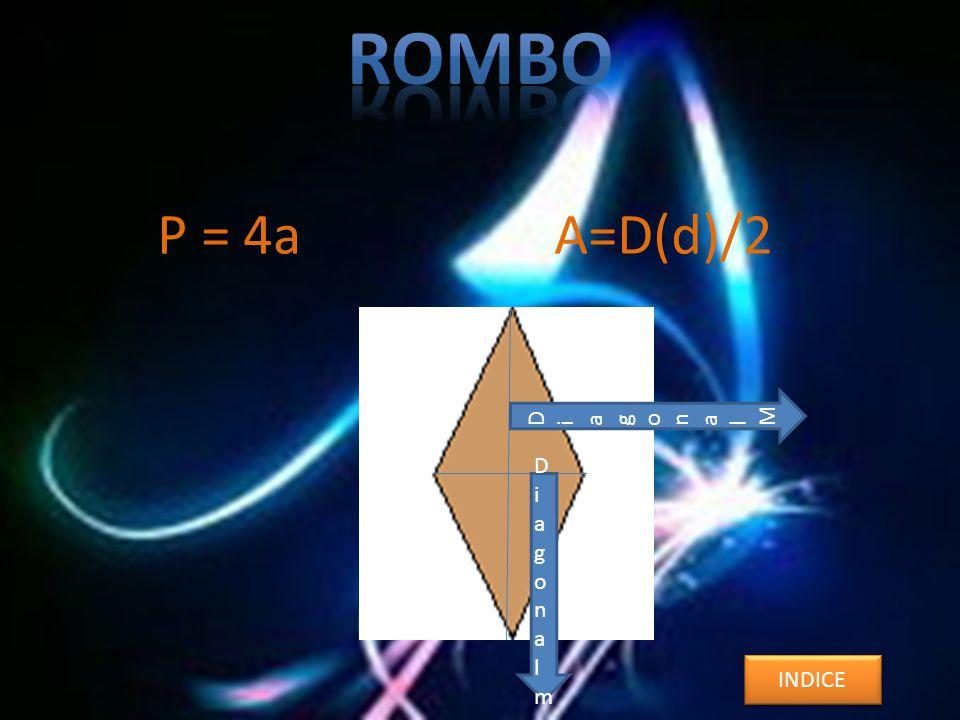 P = 4a A=D(d)/2 INDICE DiagonalMDiagonalM DiagonalmDiagonalm