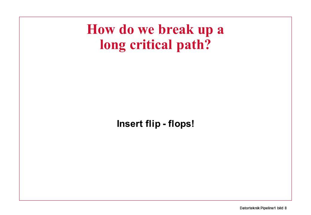 Datorteknik Pipeline1 bild 8 How do we break up a long critical path? Insert flip - flops!