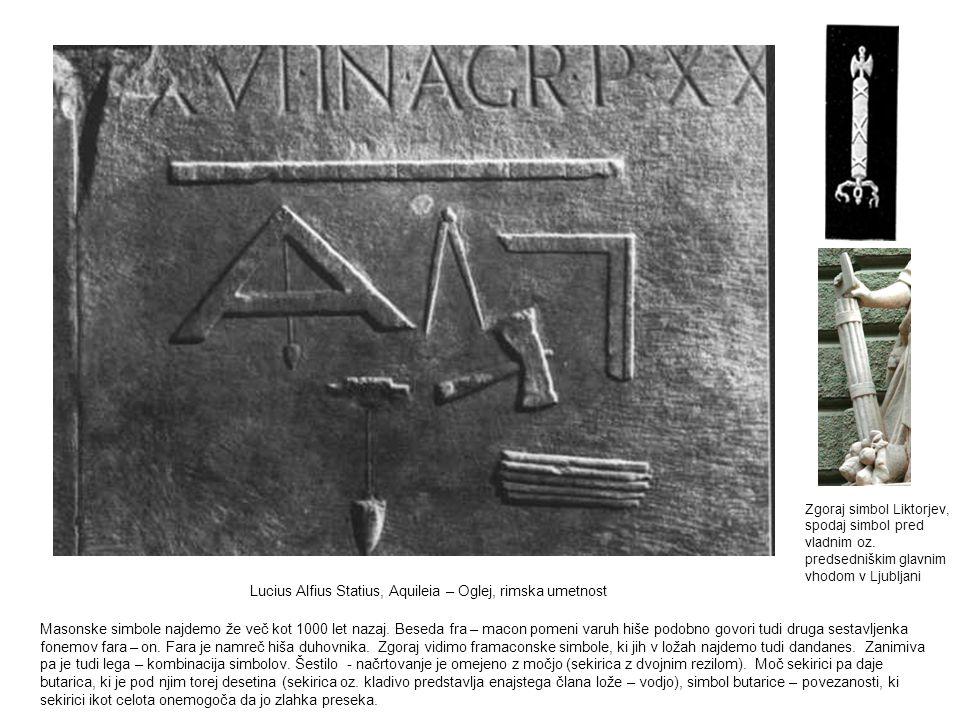 Lucius Alfius Statius, Aquileia – Oglej, rimska umetnost Masonske simbole najdemo že več kot 1000 let nazaj. Beseda fra – macon pomeni varuh hiše podo