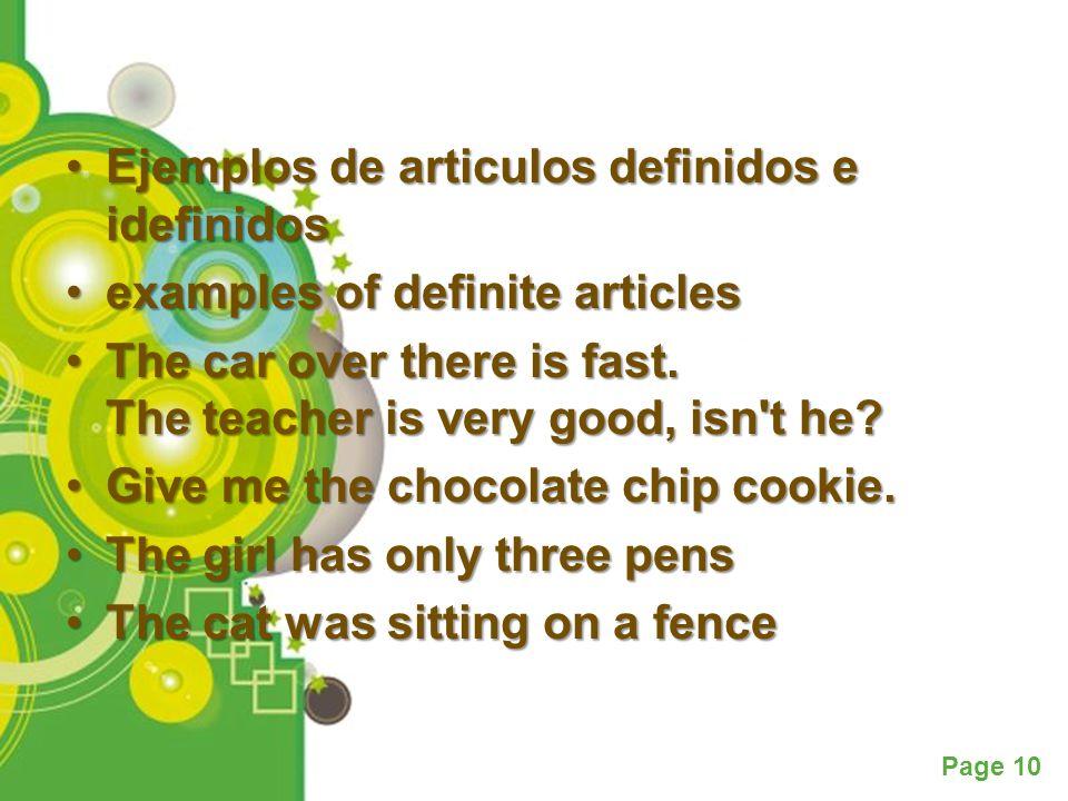 Powerpoint Templates Page 10 Ejemplos de articulos definidos e idefinidosEjemplos de articulos definidos e idefinidos examples of definite articlesexa