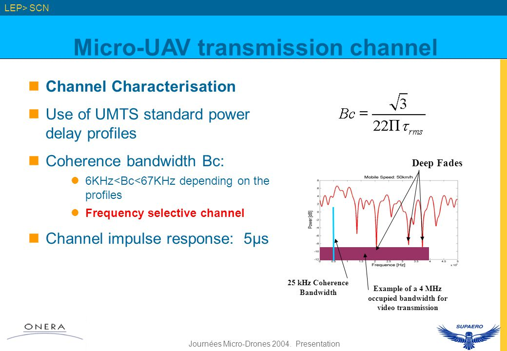Journées Micro-Drones 2004. Presentation LEP> SCN Channel Characterisation Use of UMTS standard power delay profiles Coherence bandwidth Bc: 6KHz<Bc<6