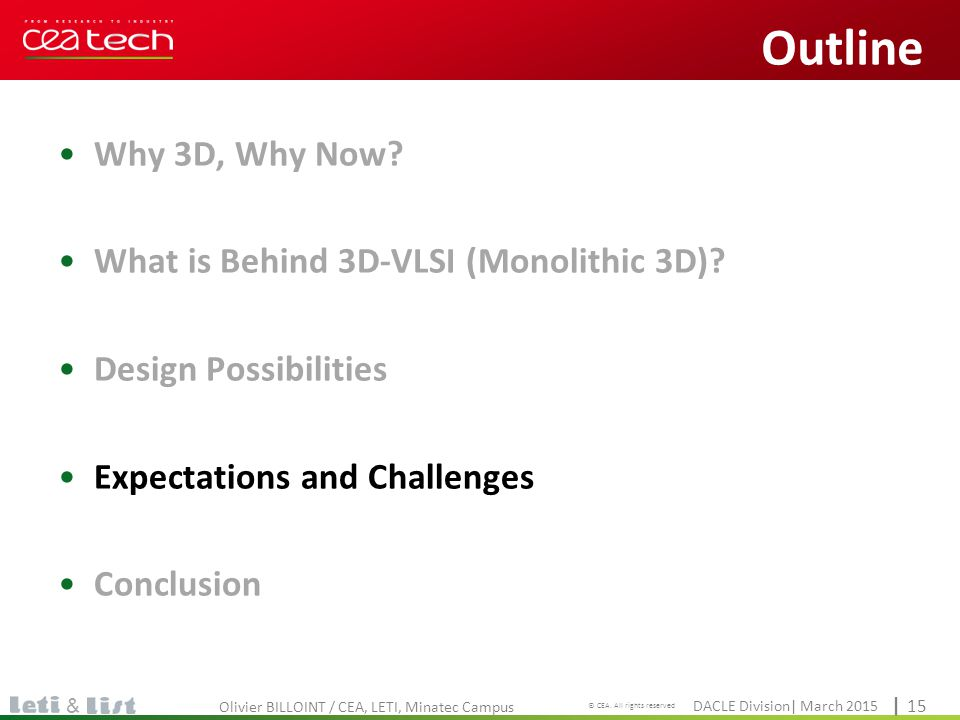 Cliquez pour modifier le style du titre DACLE Division| March 2015 © CEA. All rights reserved | 15 & Why 3D, Why Now? What is Behind 3D-VLSI (Monolith