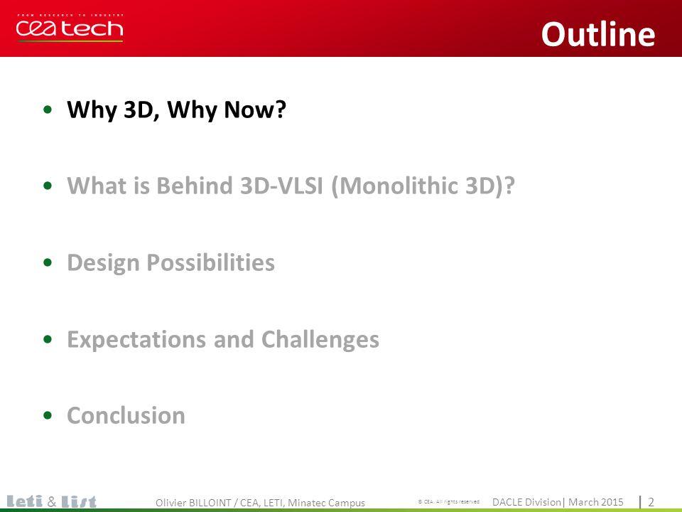 Cliquez pour modifier le style du titre DACLE Division| March 2015 © CEA. All rights reserved | 2| 2 & Why 3D, Why Now? What is Behind 3D-VLSI (Monoli