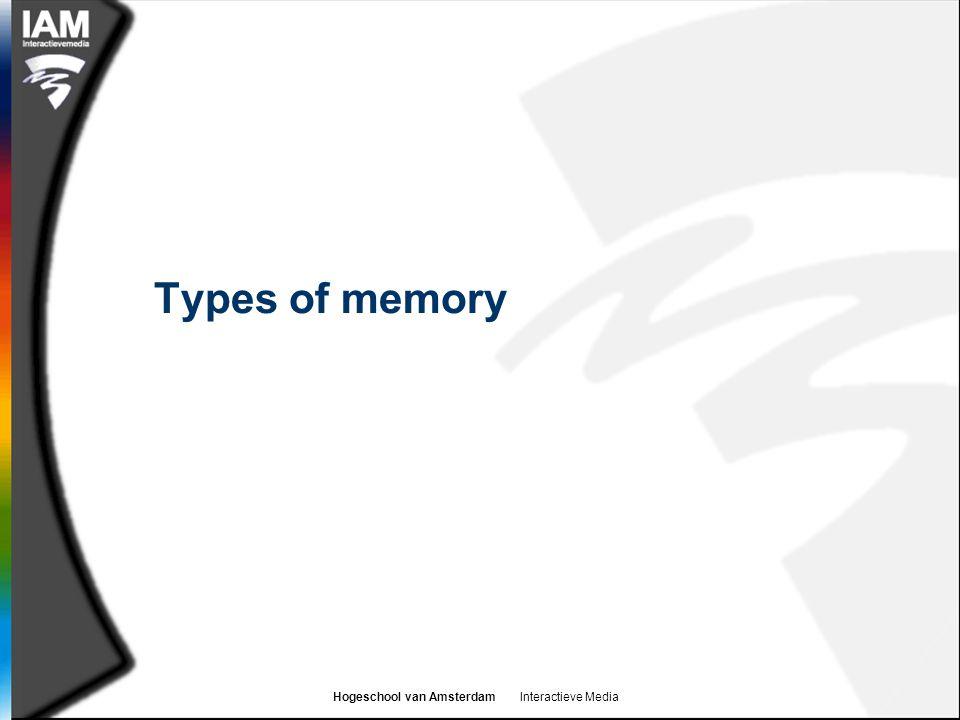 Hogeschool van Amsterdam Interactieve Media Types of memory