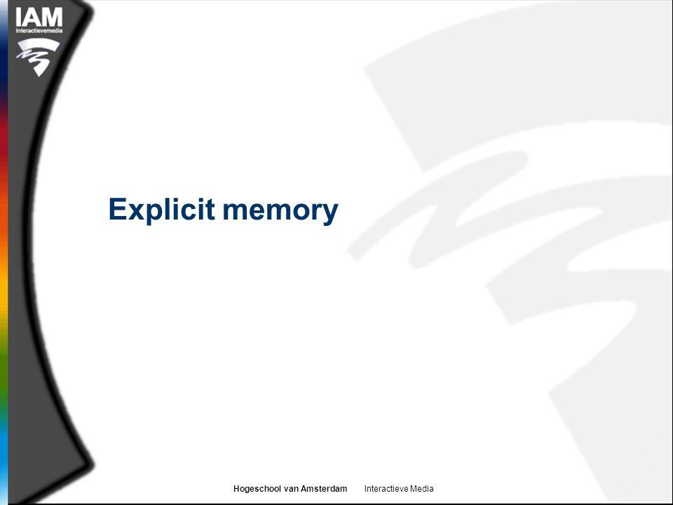 Hogeschool van Amsterdam Interactieve Media Explicit memory