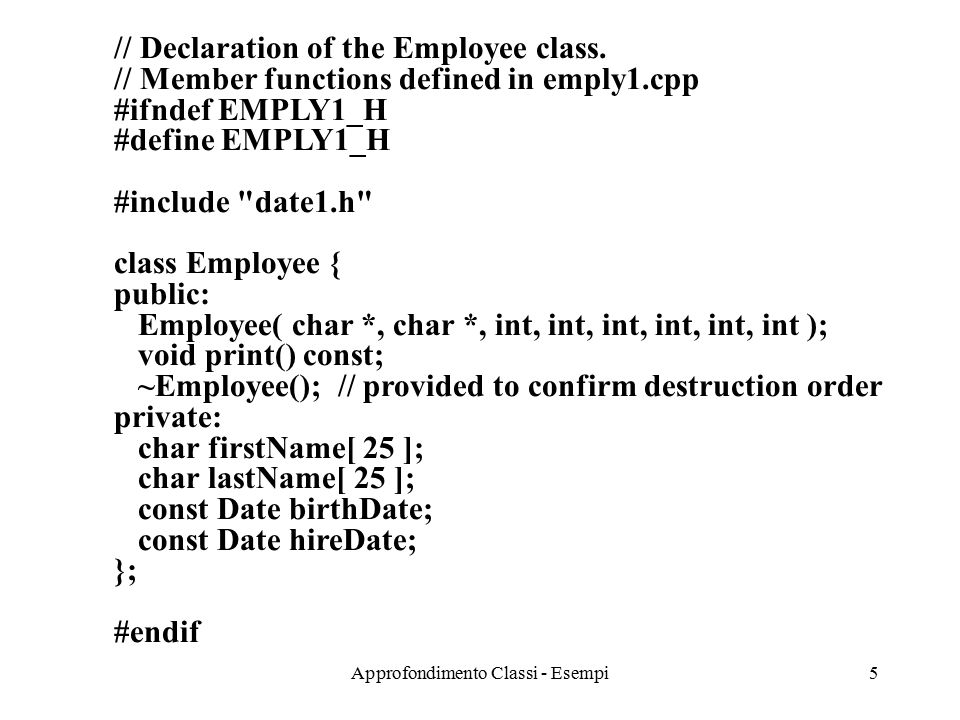 Approfondimento Classi - Esempi6 // Member function definitions for Employee class.