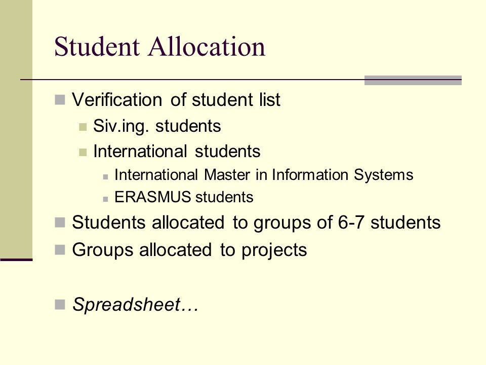 Student Allocation Verification of student list Siv.ing.