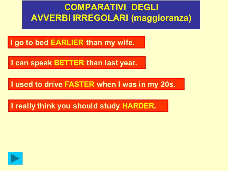 I go to bed EARLIER than my wife. I can speak BETTER than last year. I used to drive FASTER when I was in my 20s. I really think you should study HARD