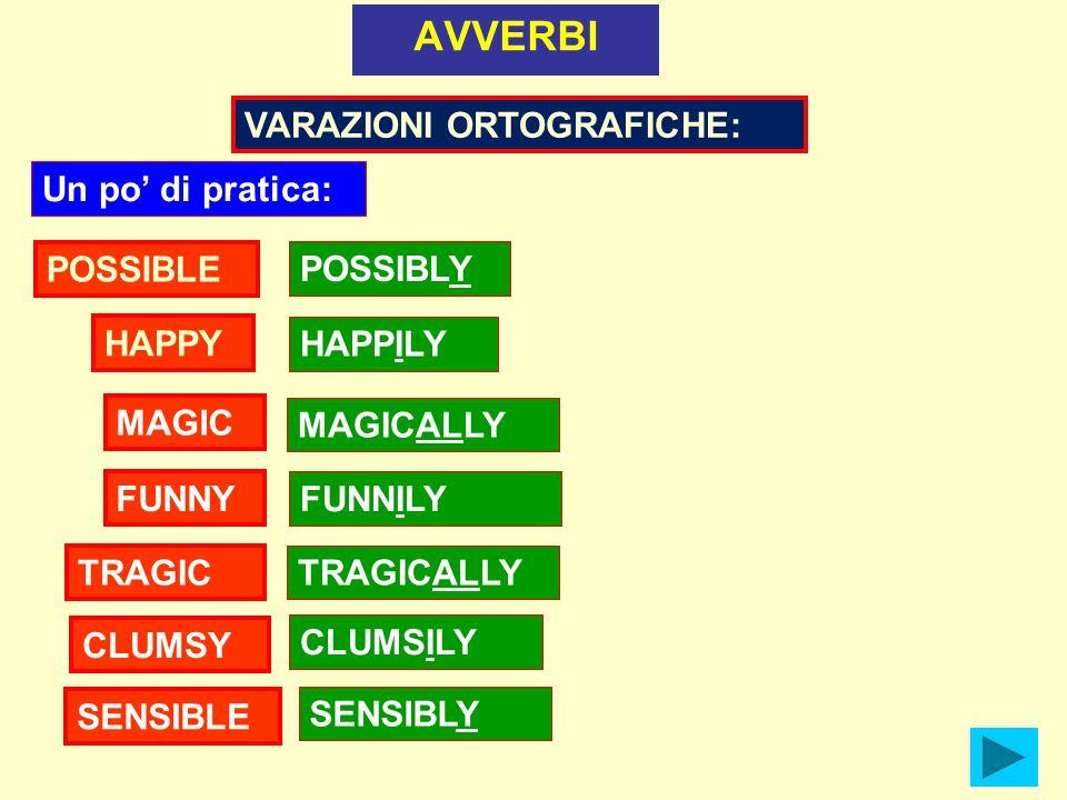 AVVERBI MAGIC HAPPILY HAPPY POSSIBLE POSSIBLY VARAZIONI ORTOGRAFICHE: MAGICALLY Un po' di pratica: FUNNY FUNNILY TRAGIC TRAGICALLY CLUMSY CLUMSILY SENSIBLE SENSIBLY