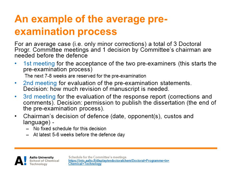 An example of the average pre- examination process For an average case (i.e.