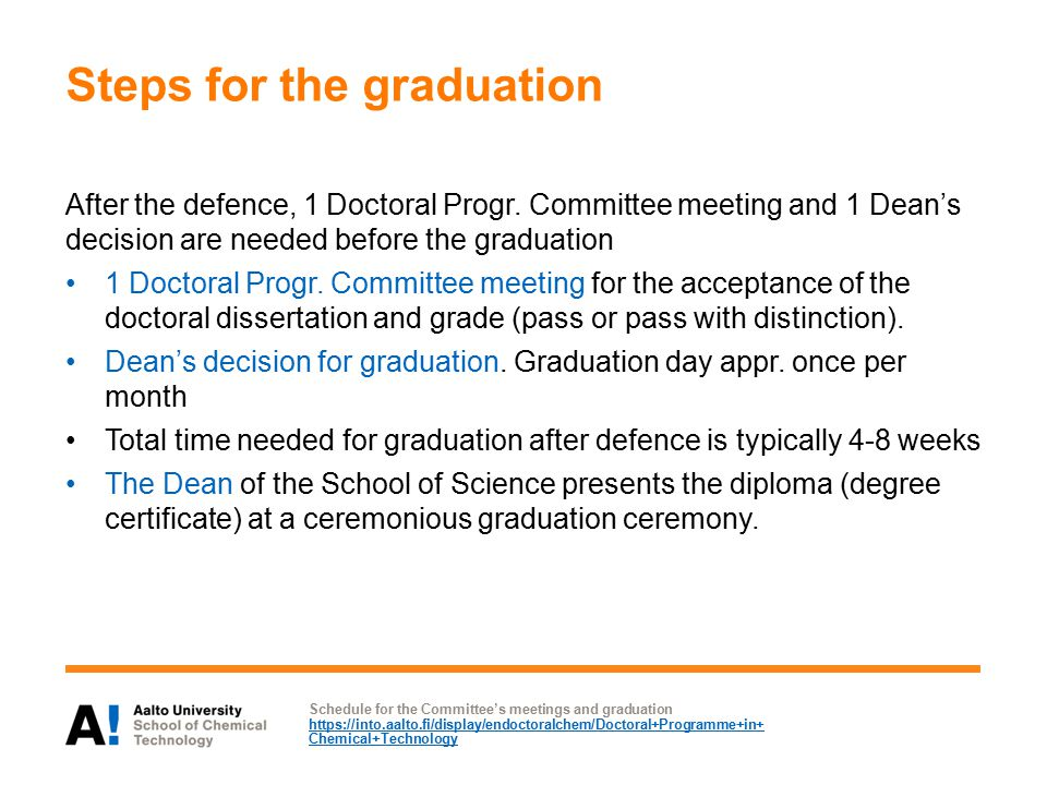 Steps for the graduation After the defence, 1 Doctoral Progr.