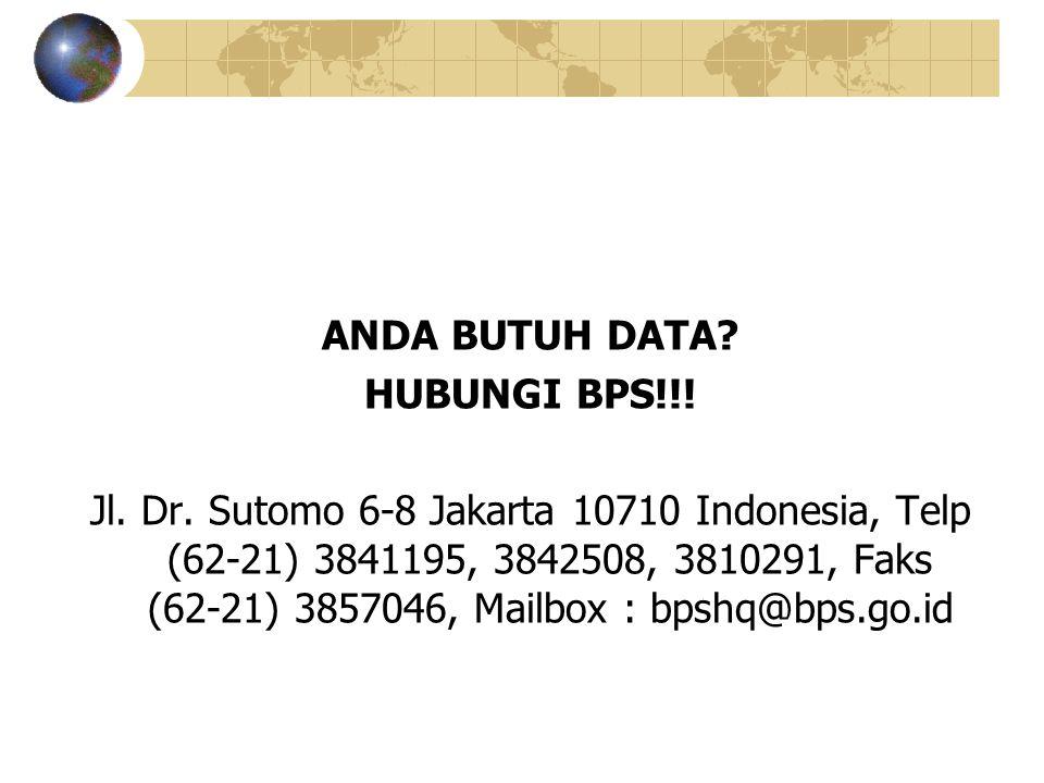 ANDA BUTUH DATA. HUBUNGI BPS!!. Jl. Dr.