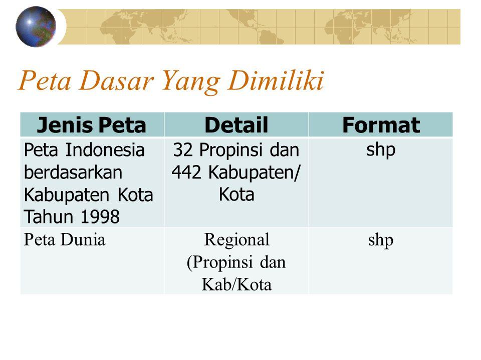 Peta Dasar Yang Dimiliki Jenis PetaDetailFormat Peta Indonesia berdasarkan Kabupaten Kota Tahun 1998 32 Propinsi dan 442 Kabupaten/ Kota shp Peta DuniaRegional (Propinsi dan Kab/Kota shp