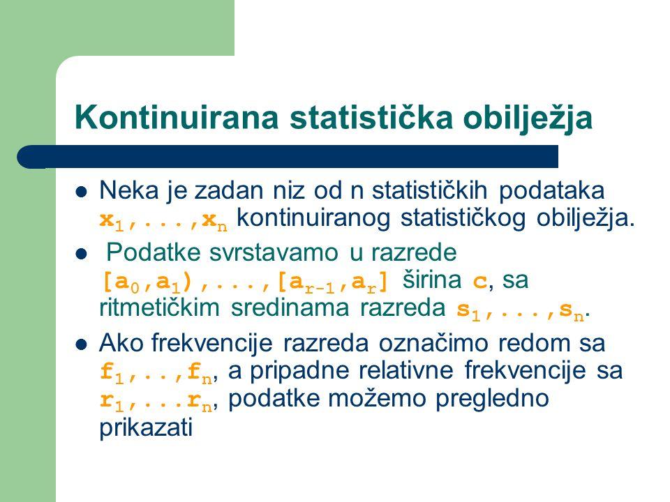 Kontinuirana statistička obilježja Neka je zadan niz od n statističkih podataka x 1,...,x n kontinuiranog statističkog obilježja.