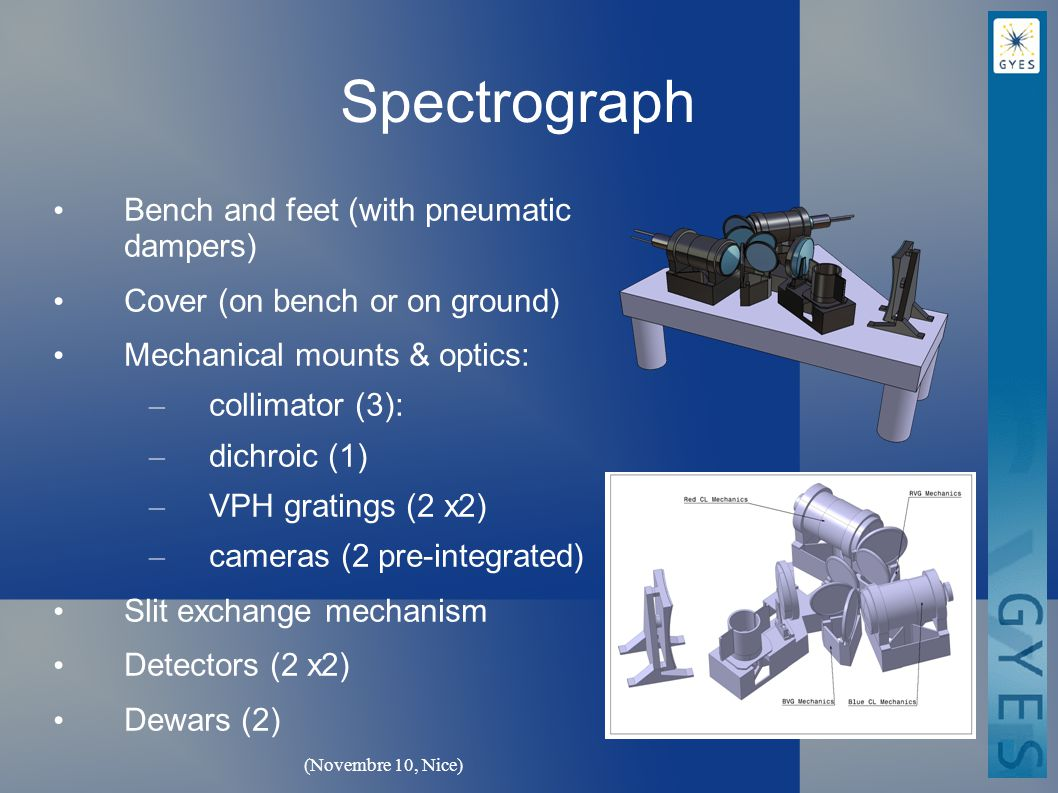 (Novembre 10, Nice) Spectrograph Bench and feet (with pneumatic dampers) Cover (on bench or on ground) Mechanical mounts & optics: – collimator (3): – dichroic (1) – VPH gratings (2 x2) – cameras (2 pre-integrated) Slit exchange mechanism Detectors (2 x2) Dewars (2)