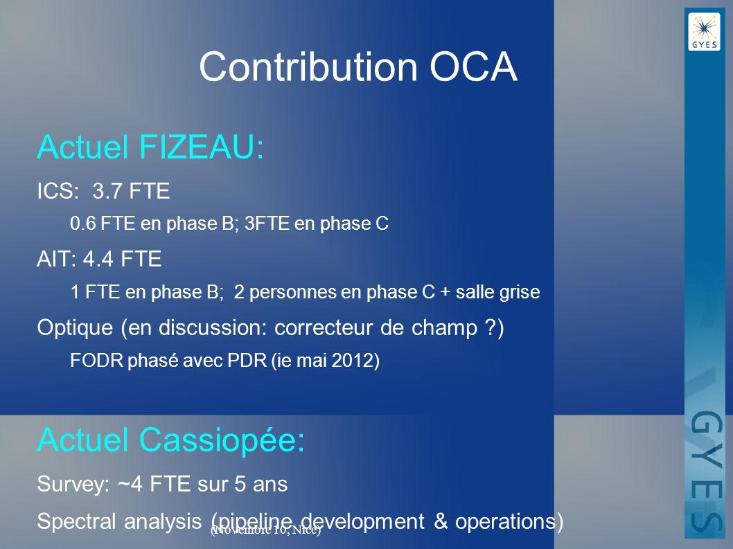 (Novembre 10, Nice) Contribution OCA Actuel FIZEAU: ICS: 3.7 FTE 0.6 FTE en phase B; 3FTE en phase C AIT: 4.4 FTE 1 FTE en phase B; 2 personnes en phase C + salle grise Optique (en discussion: correcteur de champ ?) FODR phasé avec PDR (ie mai 2012) Actuel Cassiopée: Survey: ~4 FTE sur 5 ans Spectral analysis (pipeline development & operations)