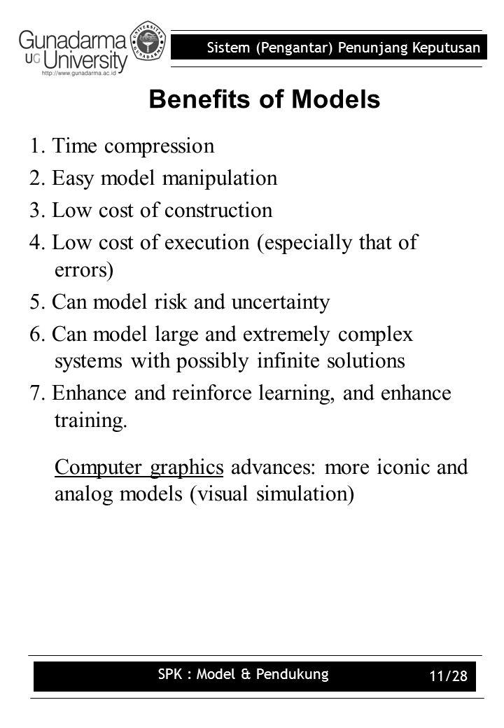 Sistem (Pengantar) Penunjang Keputusan SPK : Model & Pendukung 11/28 Benefits of Models 1.