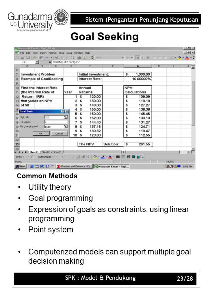 Sistem (Pengantar) Penunjang Keputusan SPK : Model & Pendukung 23/28 Goal Seeking Common Methods Utility theory Goal programming Expression of goals as constraints, using linear programming Point system Computerized models can support multiple goal decision making