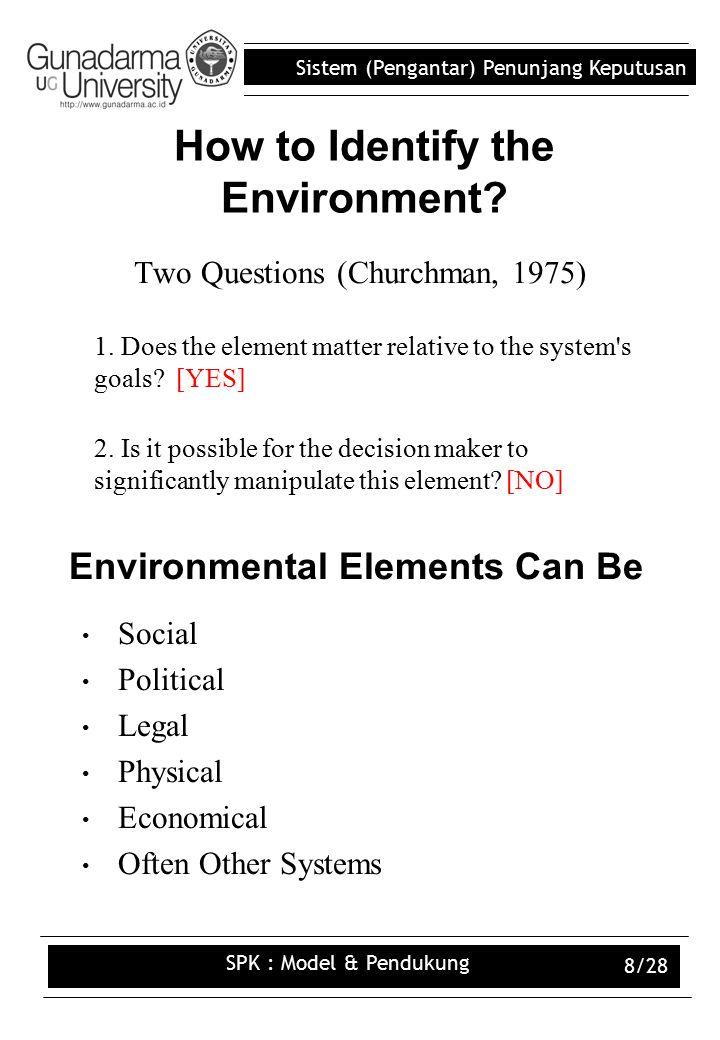 Sistem (Pengantar) Penunjang Keputusan SPK : Model & Pendukung 8/28 How to Identify the Environment.