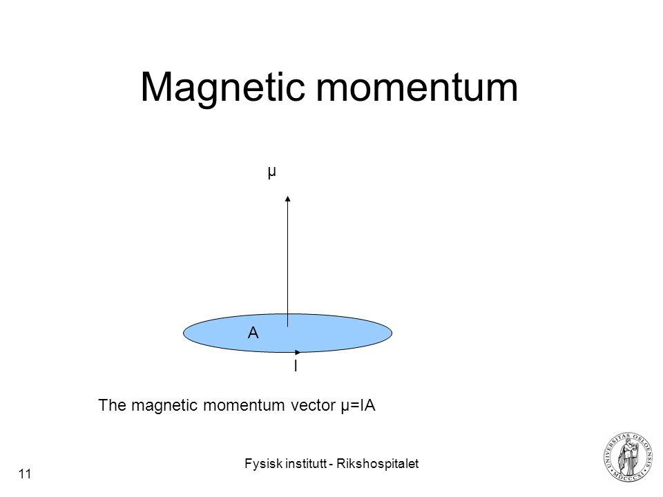 Fysisk institutt - Rikshospitalet 11 Magnetic momentum µ A I The magnetic momentum vector µ=IA