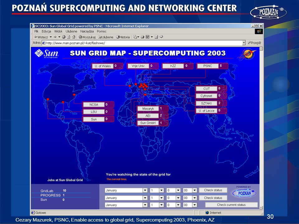 Cezary Mazurek, PSNC, Enable access to global grid, Supercomputing 2003, Phoenix, AZ 30