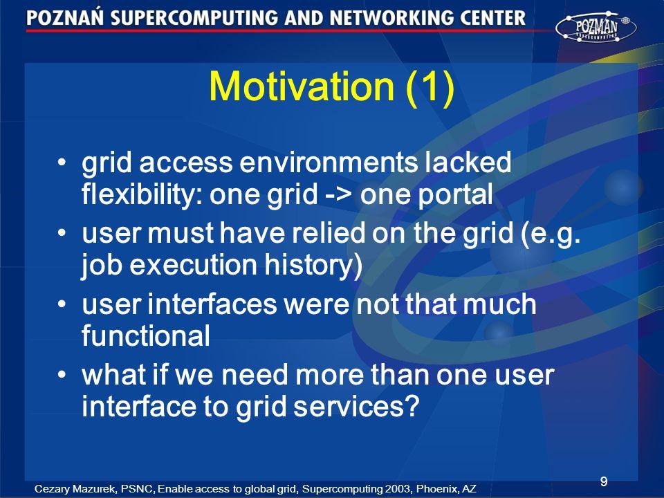 Cezary Mazurek, PSNC, Enable access to global grid, Supercomputing 2003, Phoenix, AZ 30