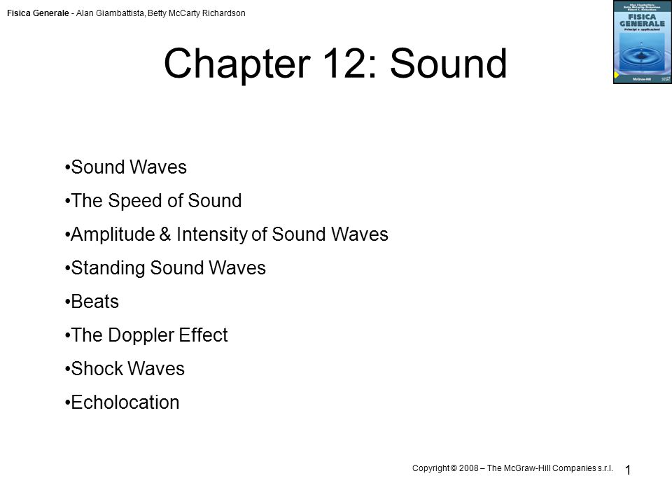 Fisica Generale - Alan Giambattista, Betty McCarty Richardson Copyright © 2008 – The McGraw-Hill Companies s.r.l. 1 Chapter 12: Sound Sound Waves The