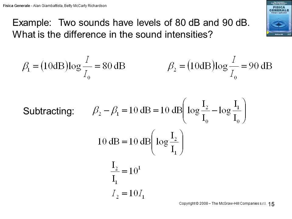 Fisica Generale - Alan Giambattista, Betty McCarty Richardson Copyright © 2008 – The McGraw-Hill Companies s.r.l. 15 Example: Two sounds have levels o