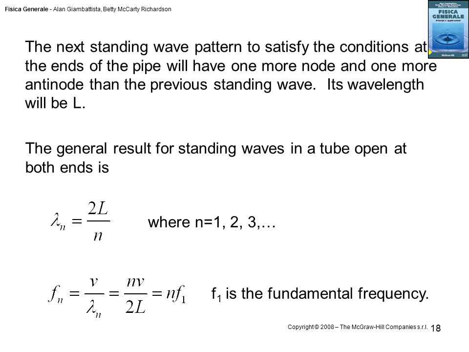 Fisica Generale - Alan Giambattista, Betty McCarty Richardson Copyright © 2008 – The McGraw-Hill Companies s.r.l. 18 The next standing wave pattern to