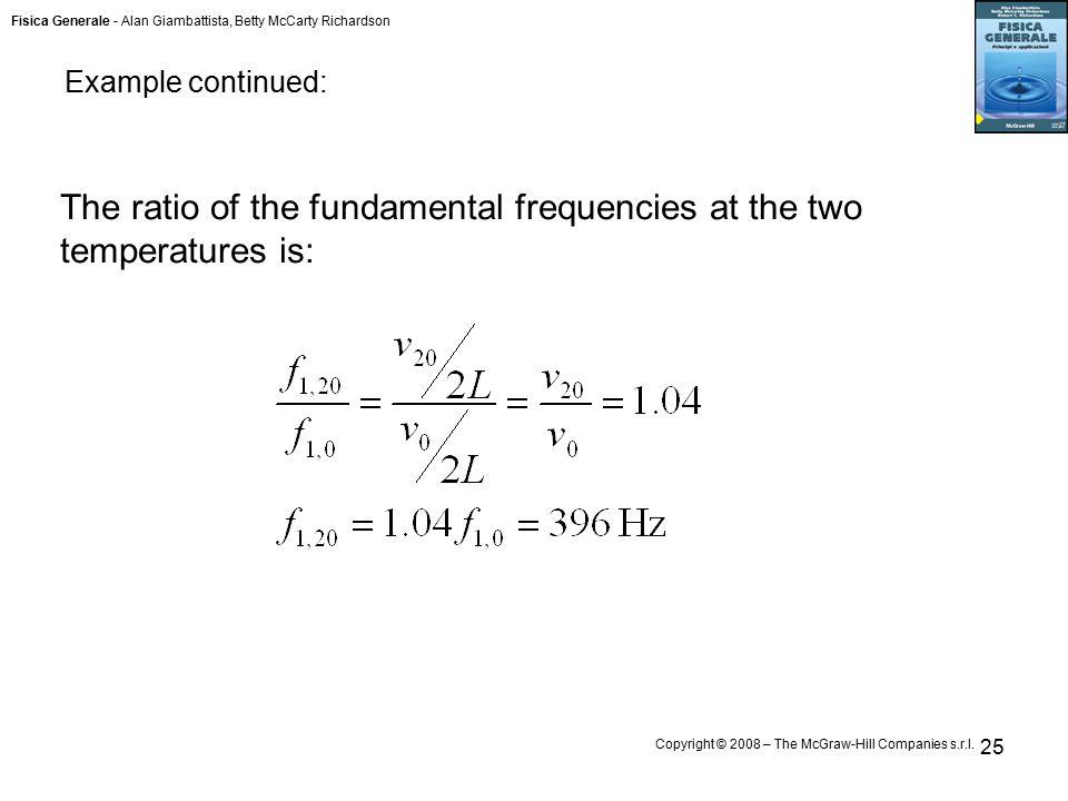 Fisica Generale - Alan Giambattista, Betty McCarty Richardson Copyright © 2008 – The McGraw-Hill Companies s.r.l. 25 The ratio of the fundamental freq