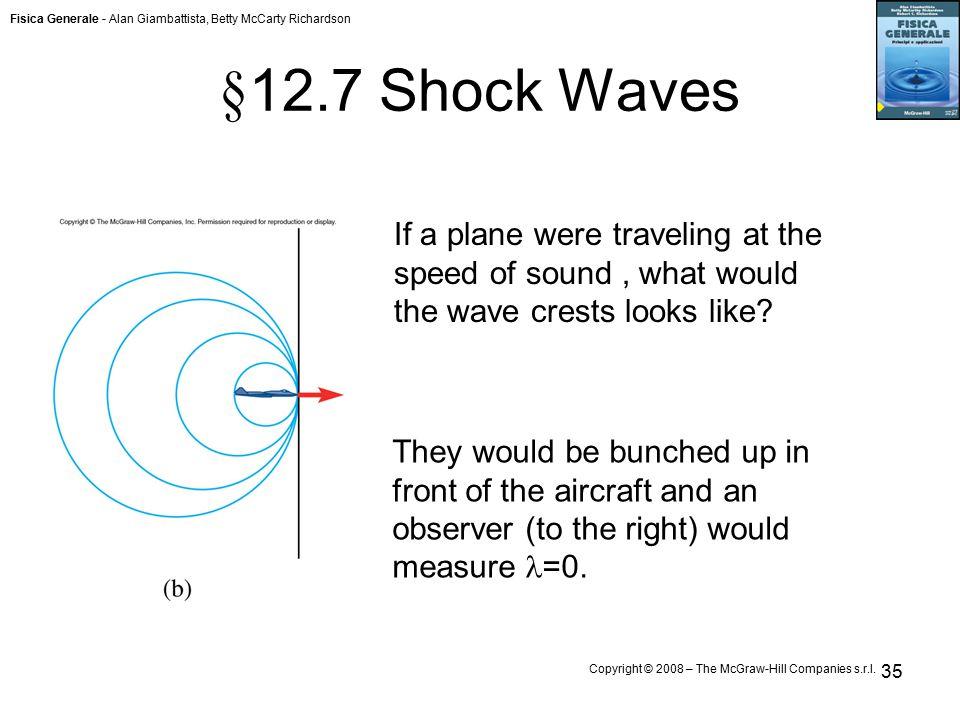 Fisica Generale - Alan Giambattista, Betty McCarty Richardson Copyright © 2008 – The McGraw-Hill Companies s.r.l. 35 § 12.7 Shock Waves If a plane wer
